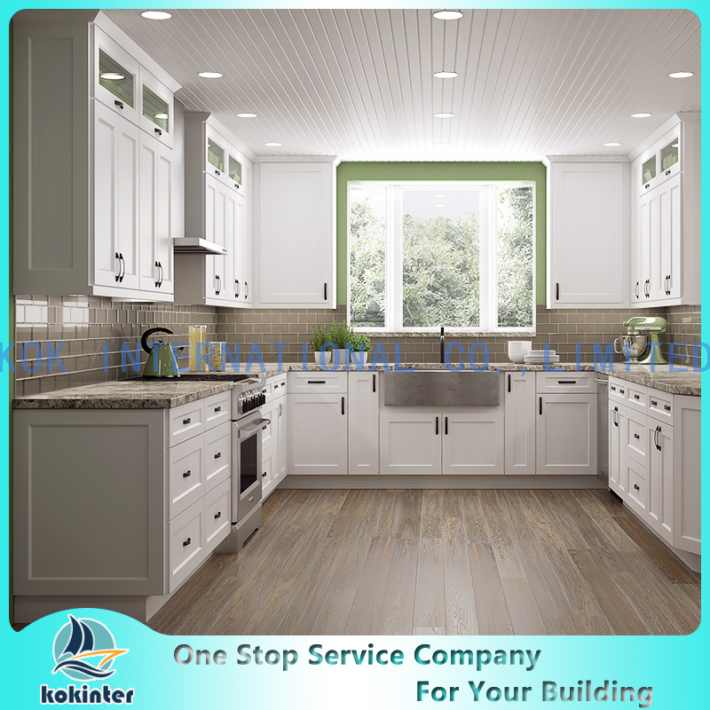 white shaker door modern wood kitchen cabinets